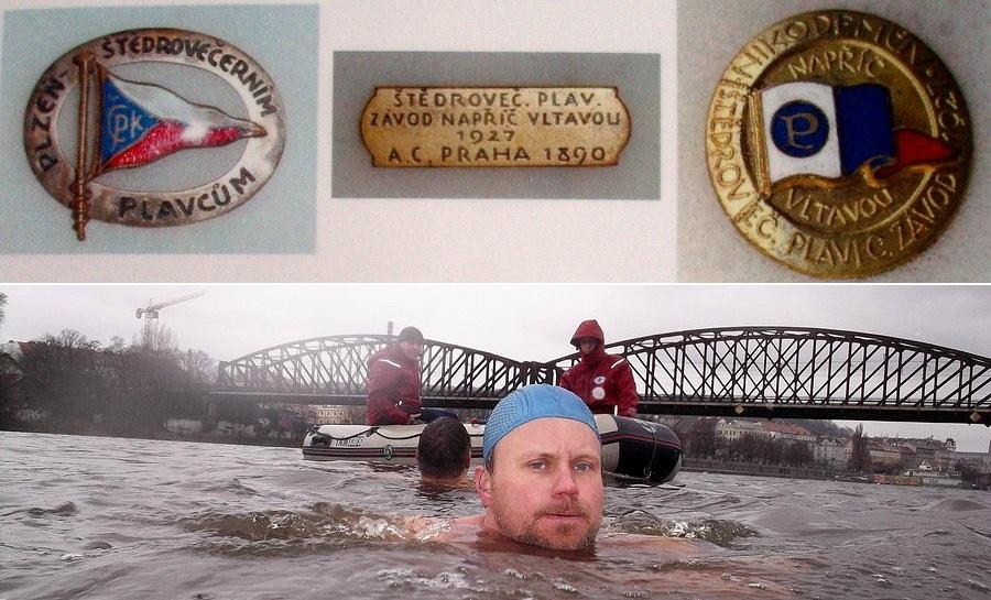 odznaky A. Nikodéma a plavba napříč Vltavou v březnu 2014