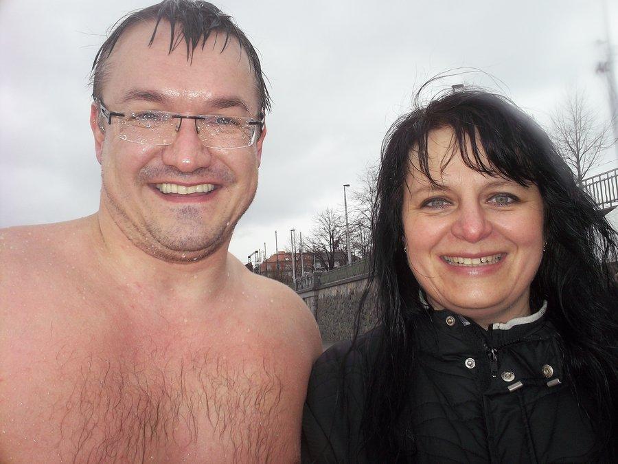 praneteř A. Nikodéma a předseda Prvního pražského klubu otužilců, březen 2014