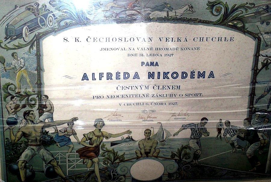 S.K. Čechoslovan Velká Chuchle jmenoval A. Nikodéma čestným členem, 6. února 1927